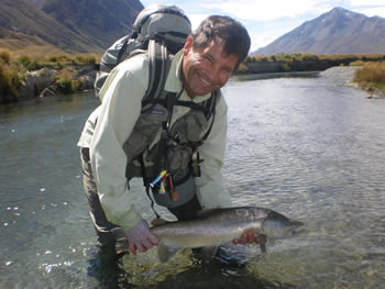 9lb trout. A happy client in the elements